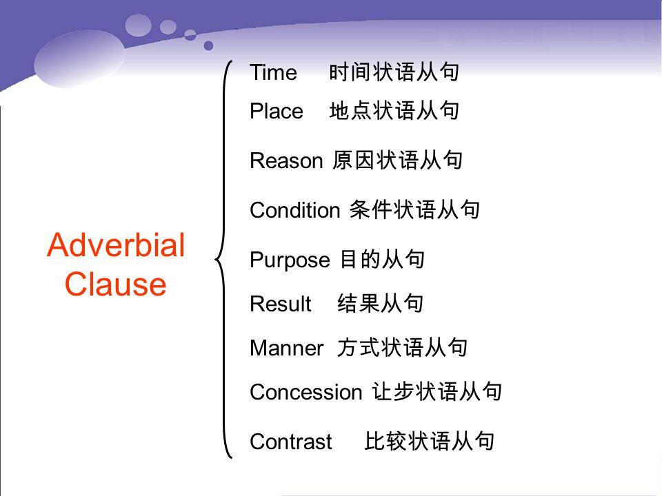 Time 时间状语从句 Adverbial Clause Place 地点状语从句 Reason 原因状语从句 Condition 条件状语从句 Purpose 目的从句 Result 结果从句 Manner 方式状语从句 Concession 让步状语从句 Contrast 比较状语从句