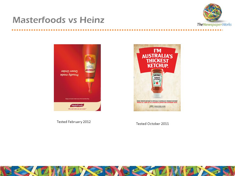 Masterfoods vs Heinz Tested February 2012 Tested October 2011