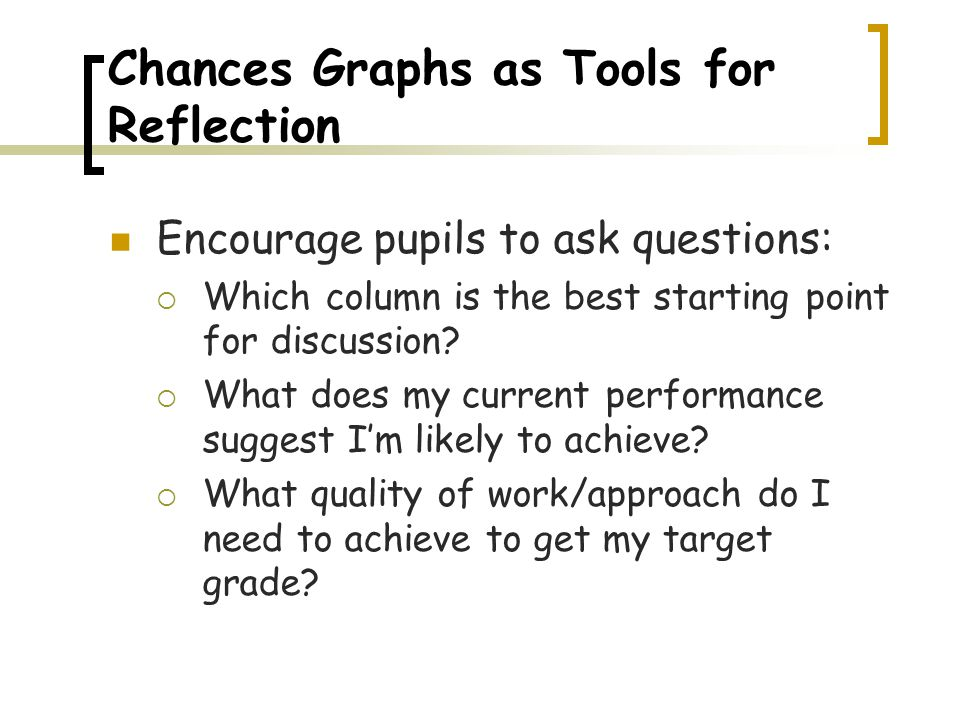 Chances Graphs as Tools for Reflection Encourage pupils to ask questions:  Which column is the best starting point for discussion.