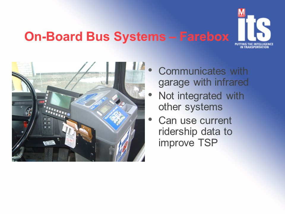 On-Board Bus Systems – Farebox Communicates with garage with infrared Not integrated with other systems Can use current ridership data to improve TSP