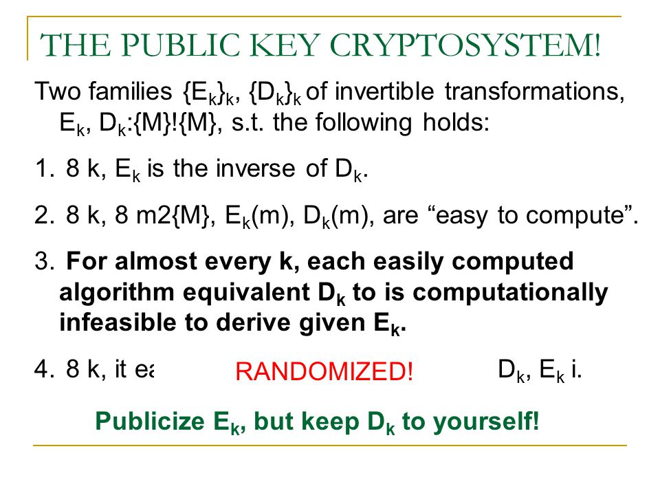 THE PUBLIC KEY CRYPTOSYSTEM.