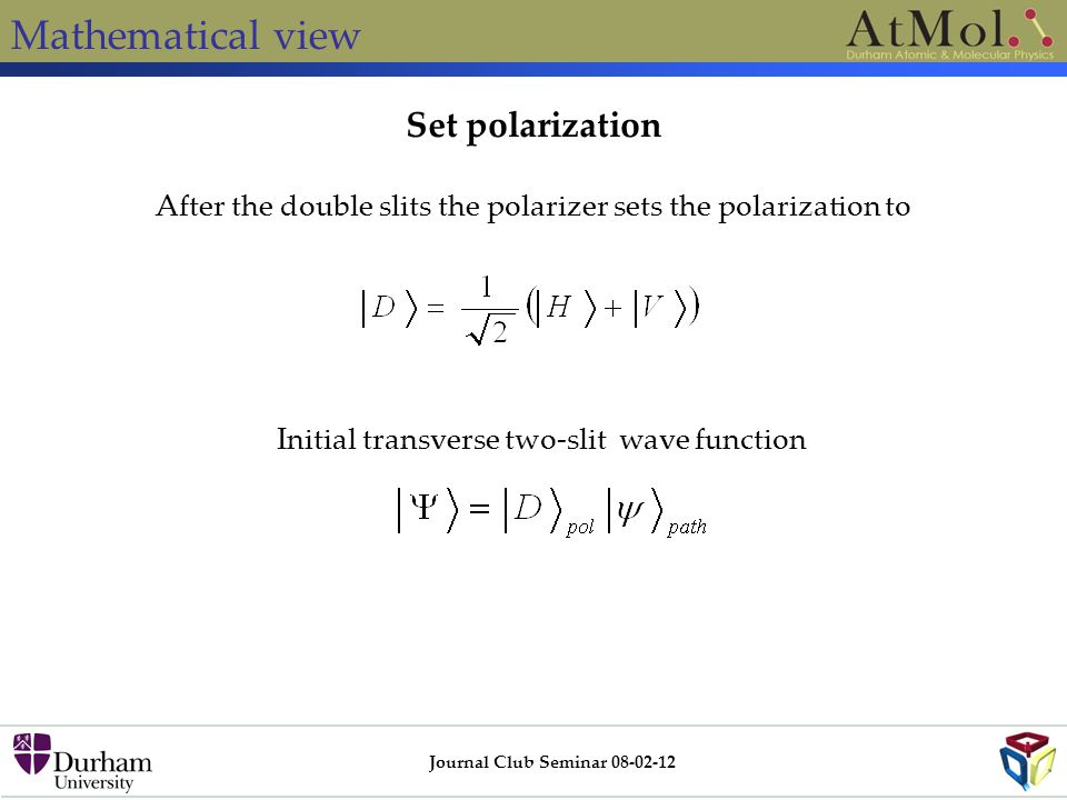 Mathematical view Journal Club Seminar 08-02-12 After the double slits the polarizer sets the polarization to Initial transverse two-slit wave functio