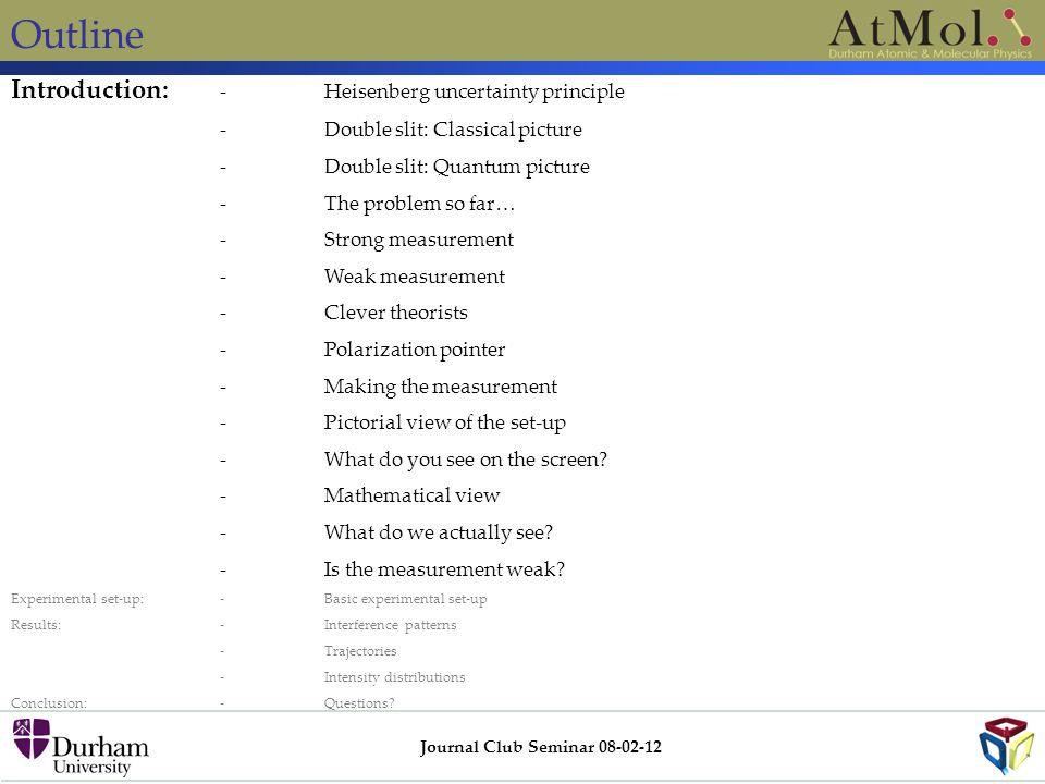 Outline Journal Club Seminar 08-02-12 Introduction: -Heisenberg uncertainty principle -Double slit: Classical picture -Double slit: Quantum picture -T