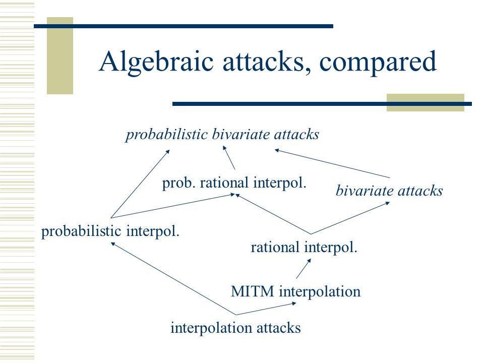 Algebraic attacks, compared probabilistic bivariate attacks bivariate attacks interpolation attacks MITM interpolation rational interpol.