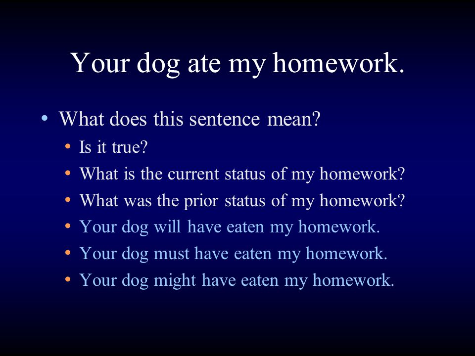 Your dog ate my homework. What does this sentence mean.