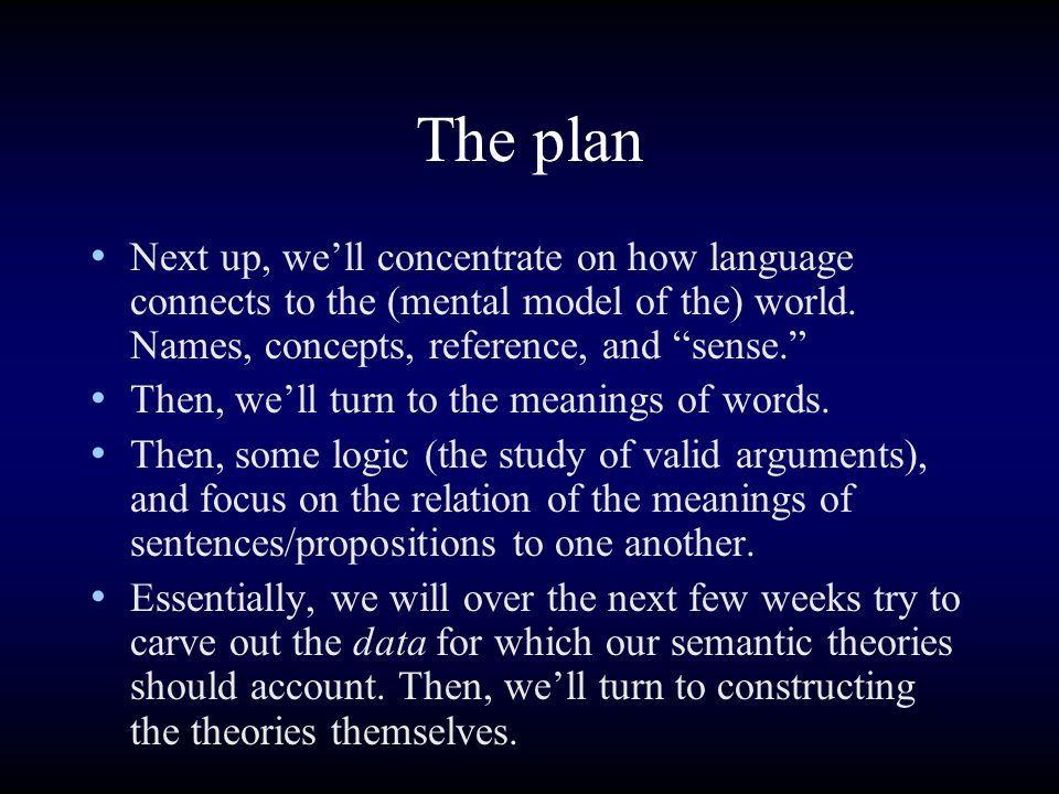 "The plan Next up, we'll concentrate on how language connects to the (mental model of the) world. Names, concepts, reference, and ""sense."" Then, we'll"