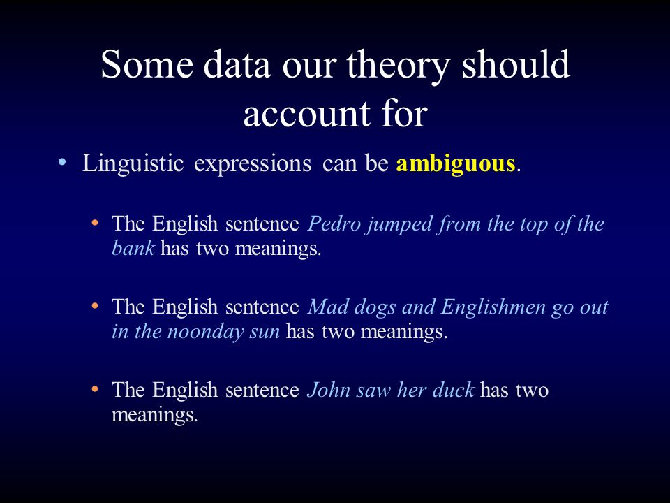 Some data our theory should account for Linguistic expressions can be ambiguous. The English sentence Pedro jumped from the top of the bank has two me