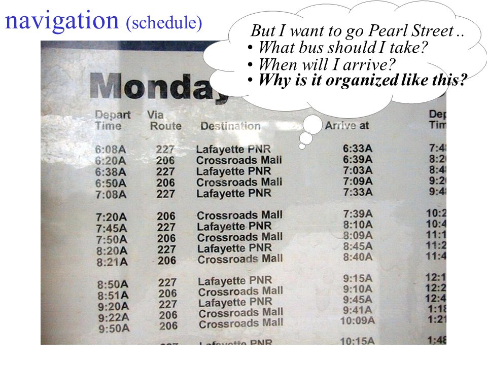 13 navigation (schedule) But I want to go Pearl Street..