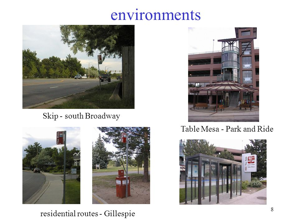 8 environments Skip - south Broadway Table Mesa - Park and Ride residential routes - Gillespie