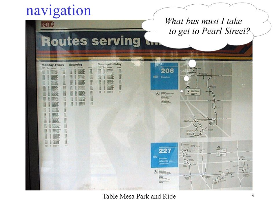 9 navigation Table Mesa Park and Ride What bus must I take to get to Pearl Street