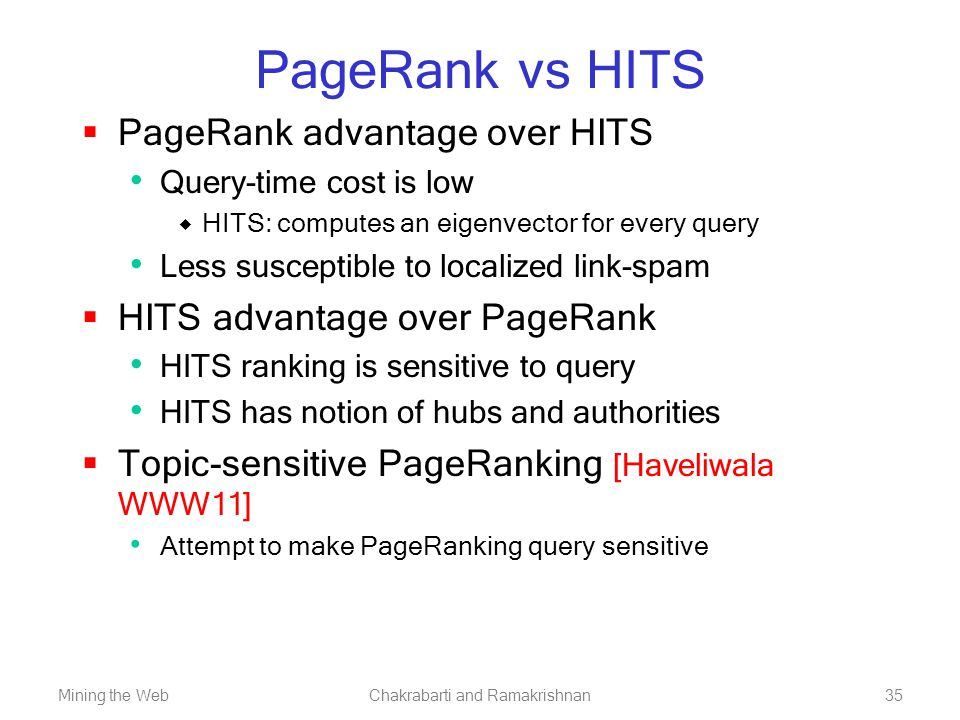 Mining the WebChakrabarti and Ramakrishnan35 PageRank vs HITS  PageRank advantage over HITS Query-time cost is low  HITS: computes an eigenvector fo