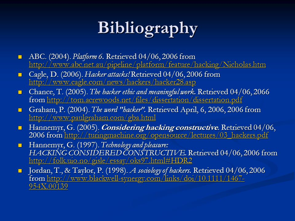 Bibliography ABC. (2004). Platform 6.
