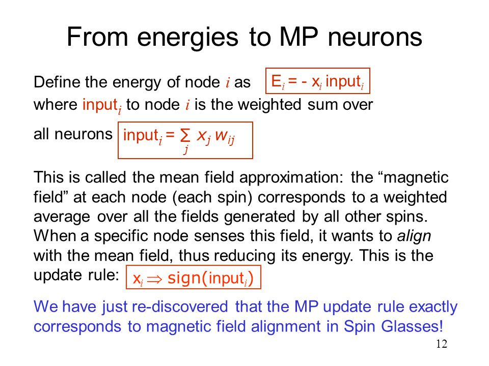 12 From energies to MP neurons We have just re-discovered that the MP update rule exactly corresponds to magnetic field alignment in Spin Glasses.