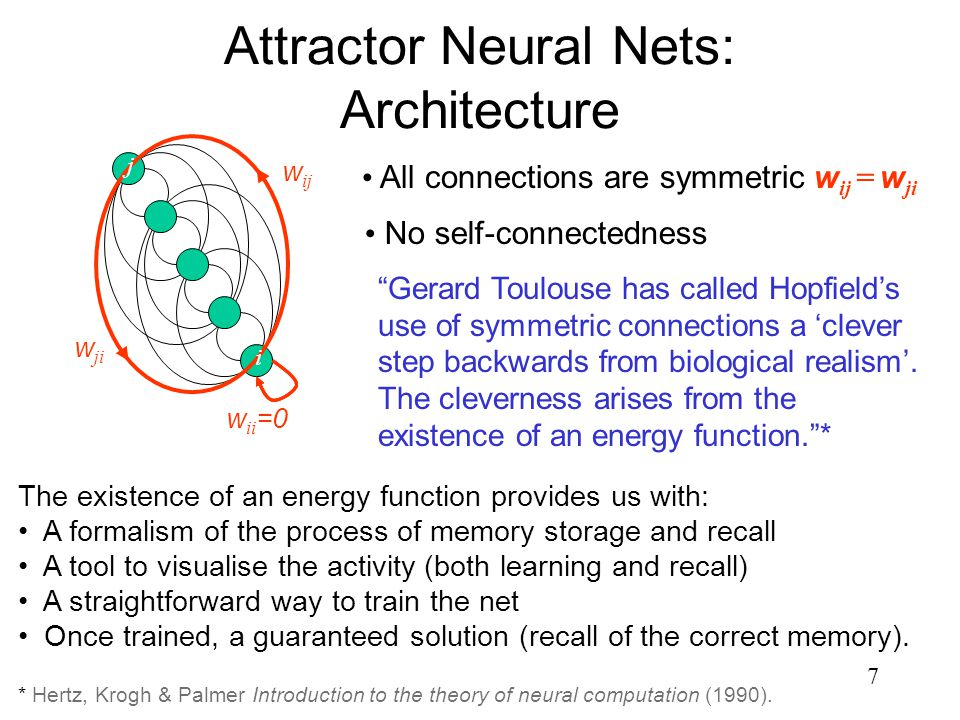 7 Attractor Neural Nets: Architecture No self-connectedness All connections are symmetric w ij = w ji w ij w ji i w ii =0 j Gerard Toulouse has called Hopfield's use of symmetric connections a 'clever step backwards from biological realism'.