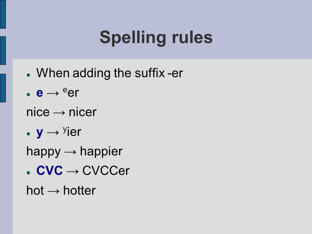 Spelling rules When adding the suffix -er e → e er nice → nicer y → y ier happy → happier CVC → CVCCer hot → hotter