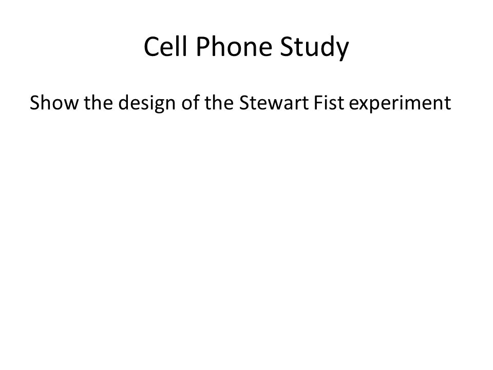 Cell Phone Study Show the design of the Stewart Fist experiment
