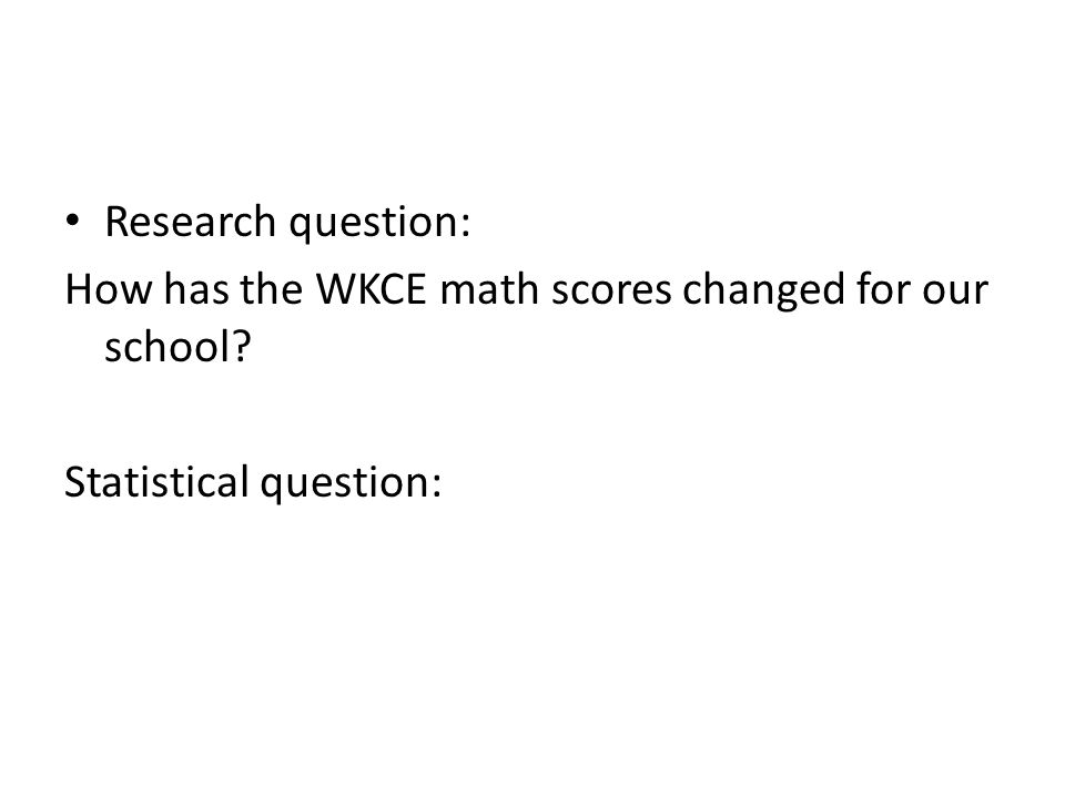 Research question: How has the WKCE math scores changed for our school Statistical question: