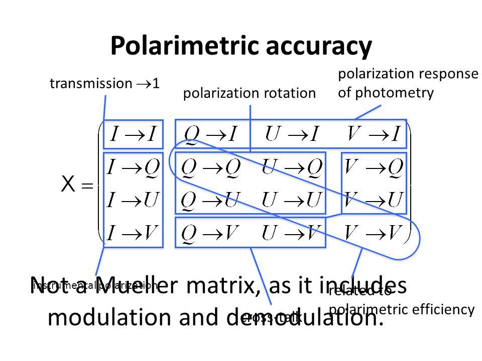Not a Mueller matrix, as it includes modulation and demodulation. Polarimetric accuracy transmission  1 instrumental polarization cross-talk polariza
