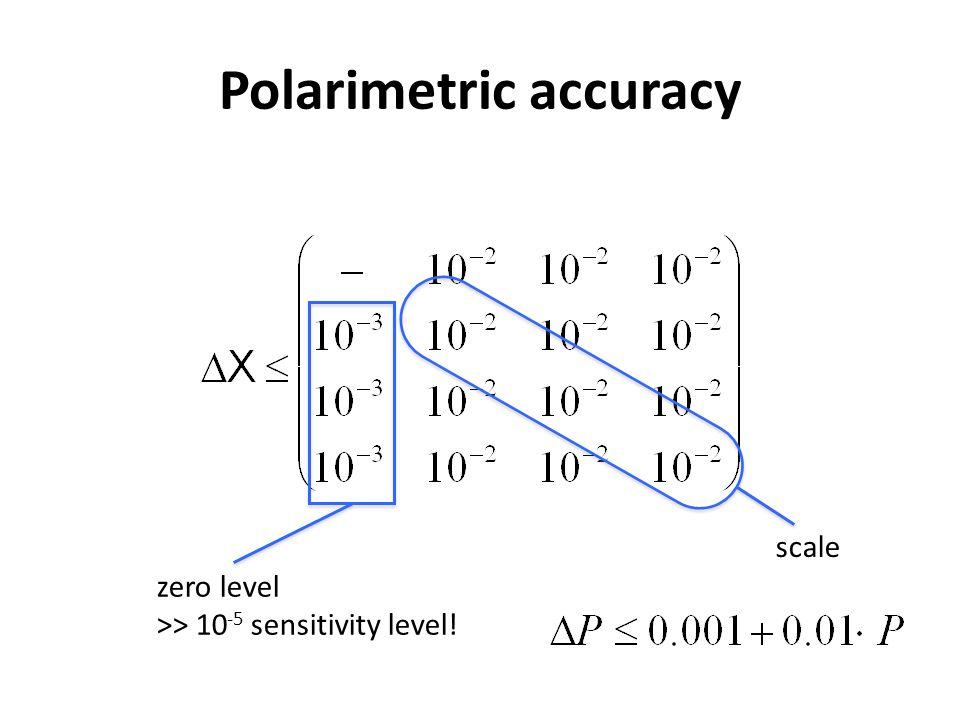 Polarimetric accuracy zero level >> 10 -5 sensitivity level! scale