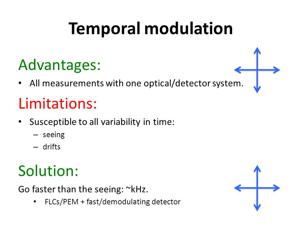 Temporal modulation Advantages: All measurements with one optical/detector system. Limitations: Susceptible to all variability in time: – seeing – dri