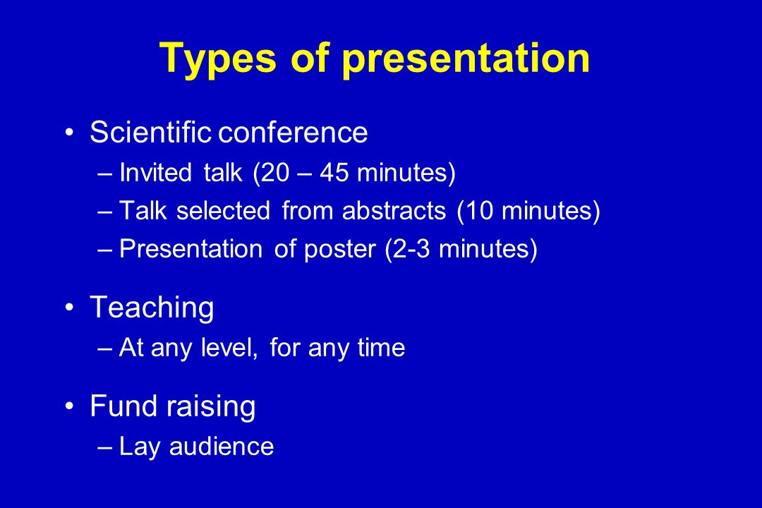 Purpose of a 10 minute research presentation To broadcast your results and conclusions To impress your peers –You have a 'captive' audience of experts To make your name –Increase likelihood of employment or further funding