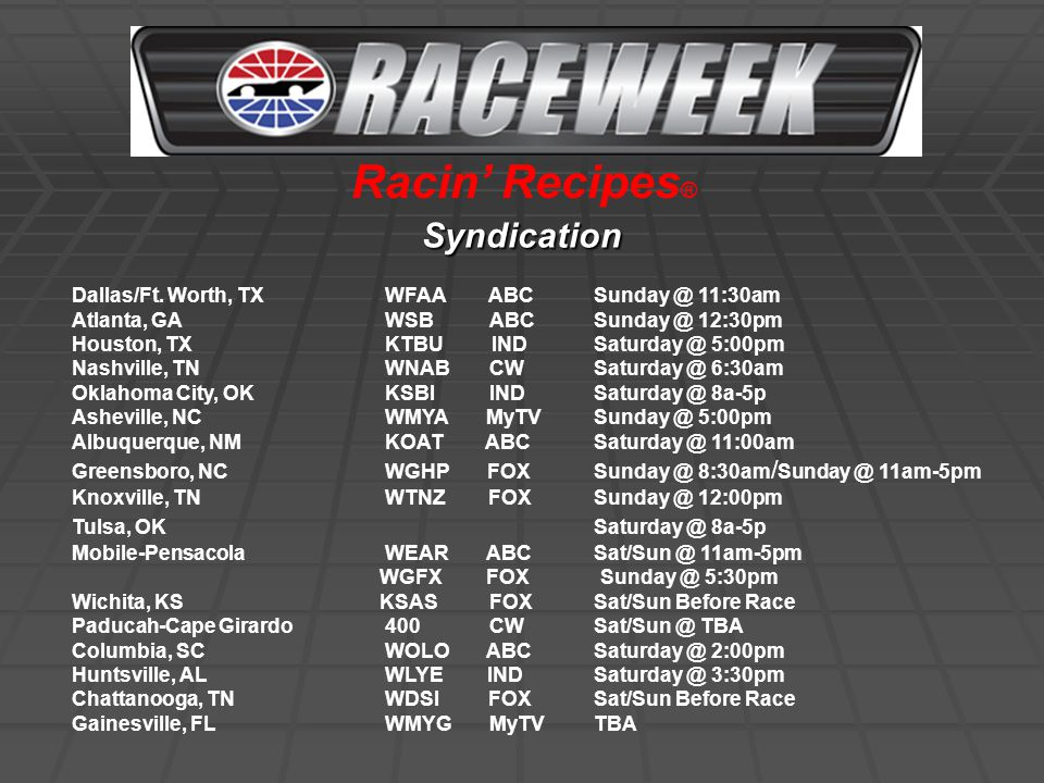 Television Dates: February - November, 2008 (40 weeks) (11th season of RaceWeek) Content of show: RaceWeek brings avid race fans across the Southwest and Southeast weekly NASCAR and IRL circuit highlights of races from all over the country.