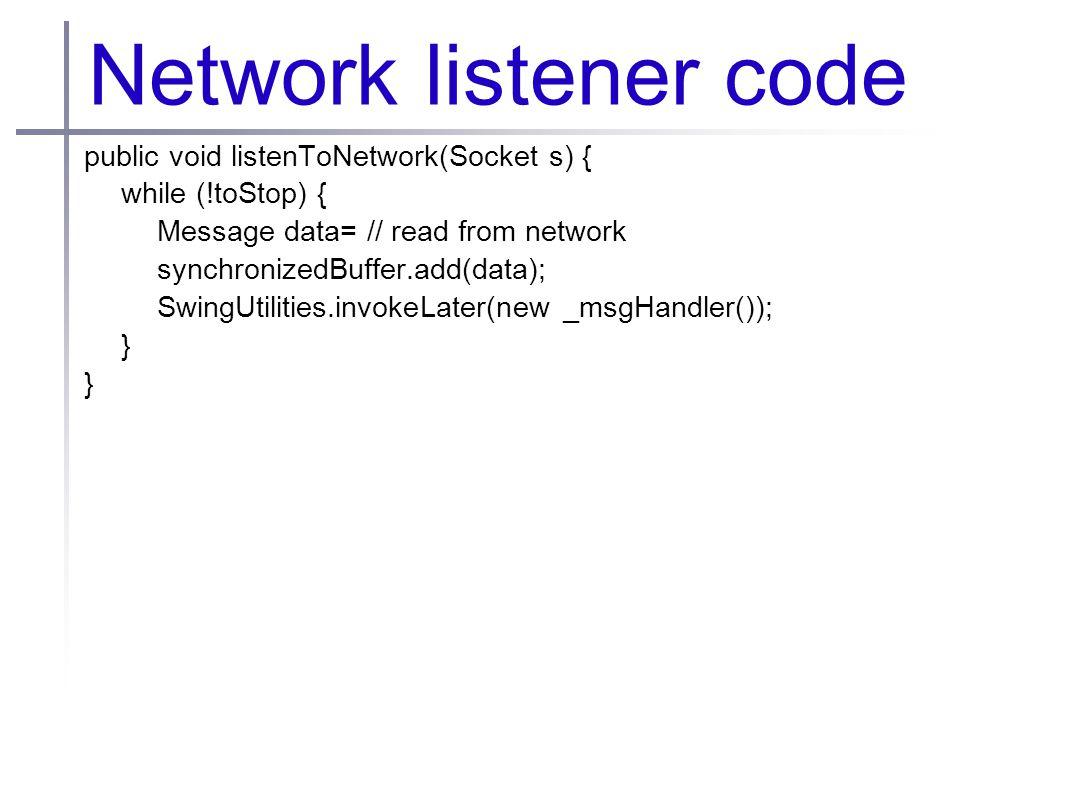 Network listener code public void listenToNetwork(Socket s) { while (!toStop) { Message data= // read from network synchronizedBuffer.add(data); Swing