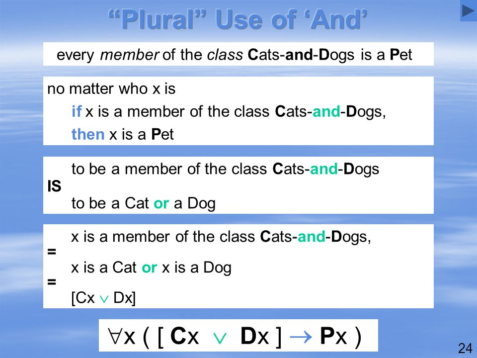 24 every member of the class Cats-and-Dogs is a Pet  x ( [ Cx  Dx ]  Px ) x is a member of the class Cats-and-Dogs, = x is a Cat or x is a Dog = [Cx  Dx] to be a member of the class Cats-and-Dogs IS to be a Cat or a Dog no matter who x is if x is a member of the class Cats-and-Dogs, then x is a Pet