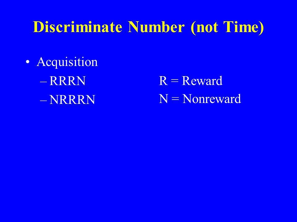 Discriminate Number (not Time) Acquisition –RRRN –NRRRN R = Reward N = Nonreward