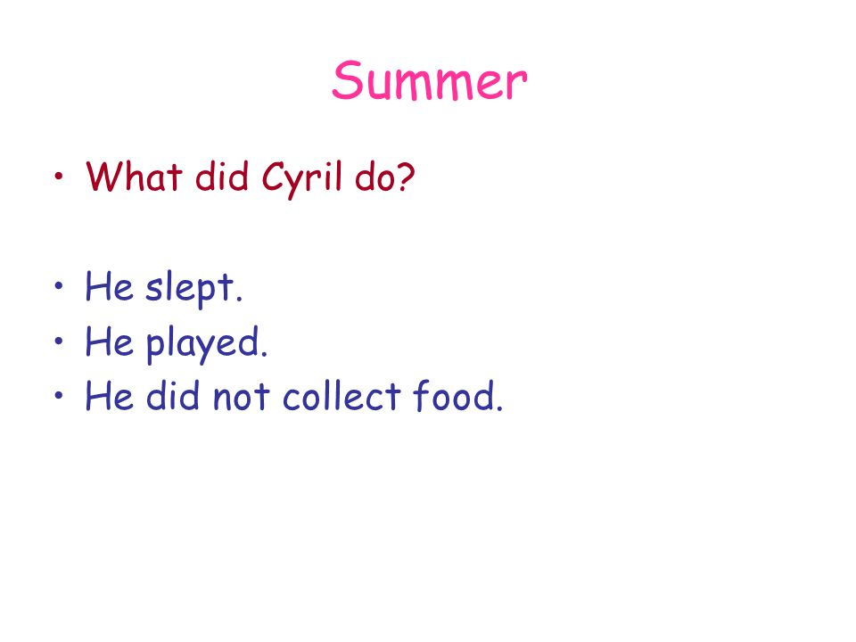 Summer What did Cyril do? He slept. He played. He did not collect food.
