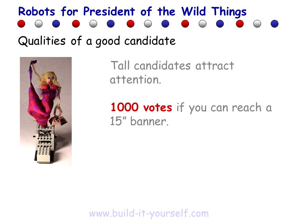Tall candidates attract attention. 1000 votes if you can reach a 15 banner.