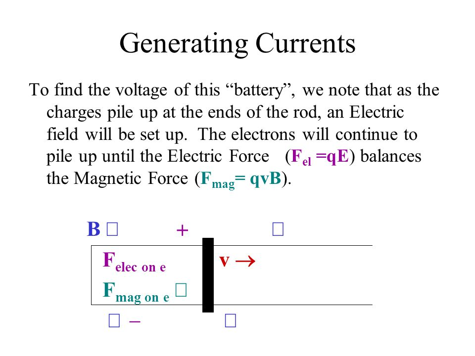 """Generating Currents To find the voltage of this """"battery"""", we note that as the charges pile up at the ends of the rod, an Electric field will be set u"""