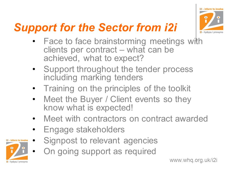 Support for the Sector from i2i Face to face brainstorming meetings with clients per contract – what can be achieved, what to expect.