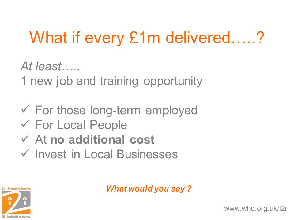 What if every £1m delivered…... What would you say .