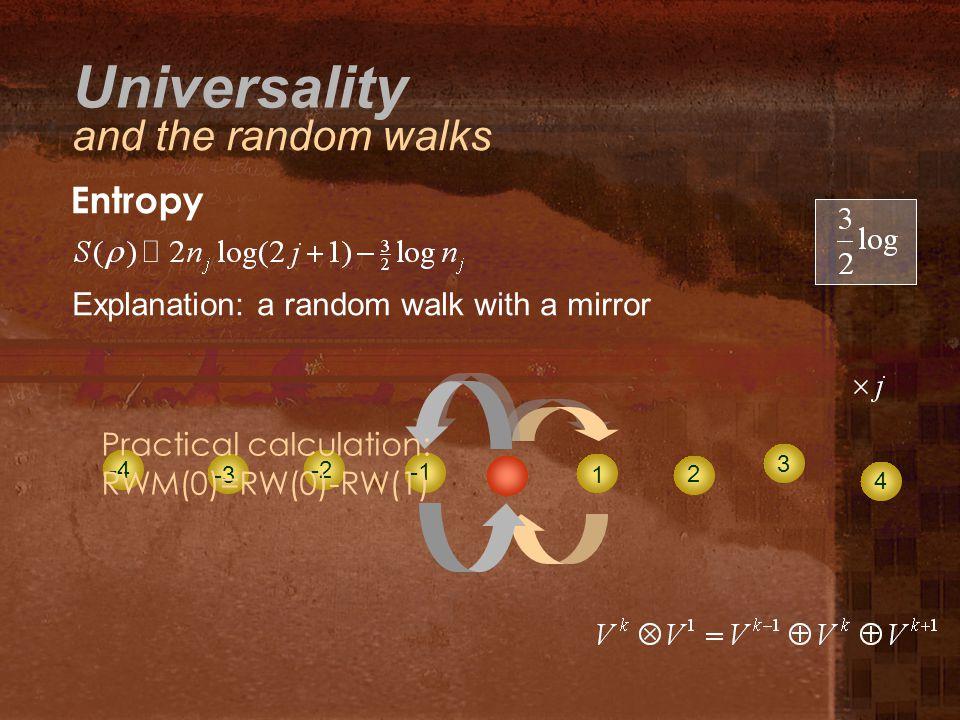 Entropy 1 2 34 Explanation: a random walk with a mirror -4 -3 -2 Practical calculation: RWM(0)=RW(0)-RW(1) Universality and the random walks