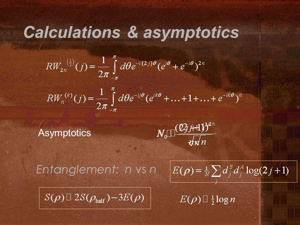 Calculations & asymptotics Asymptotics Entanglement: n vs n