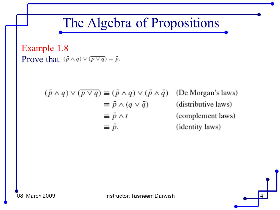 08 March 2009Instructor: Tasneem Darwish14 Example 1.8 Prove that The Algebra of Propositions