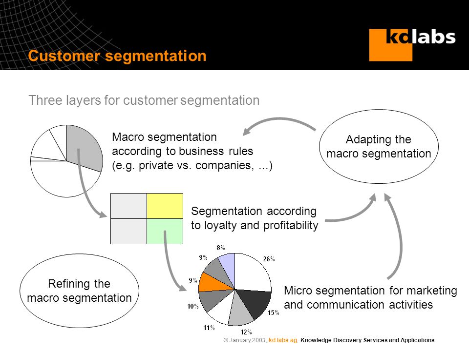 © January 2003, kd labs ag, Knowledge Discovery Services and Applications Macro segmentation according to business rules (e.g. private vs. companies,.