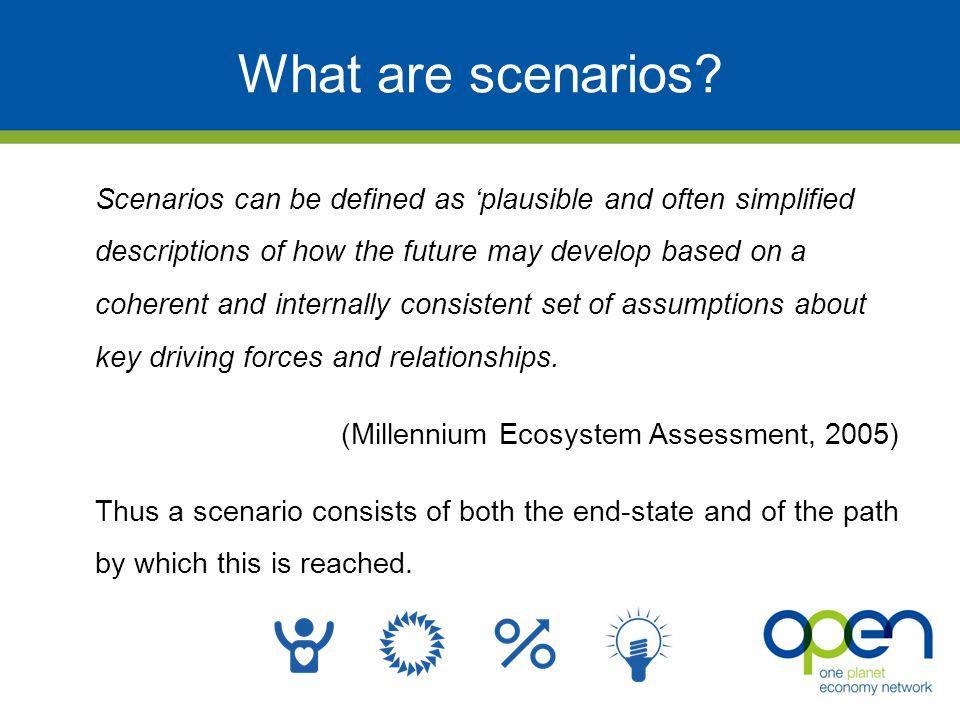 What are scenarios.