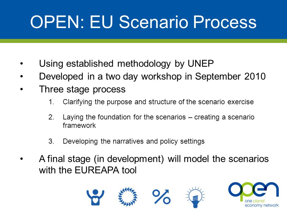 OPEN: EU Scenario Process Using established methodology by UNEP Developed in a two day workshop in September 2010 Three stage process 1.Clarifying the purpose and structure of the scenario exercise 2.Laying the foundation for the scenarios – creating a scenario framework 3.Developing the narratives and policy settings A final stage (in development) will model the scenarios with the EUREAPA tool