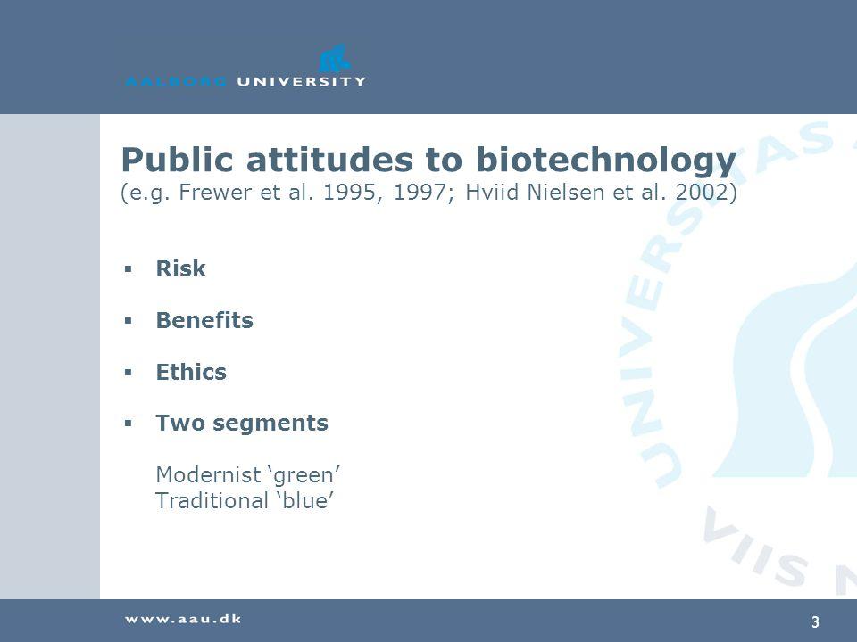 3 Public attitudes to biotechnology (e.g. Frewer et al.