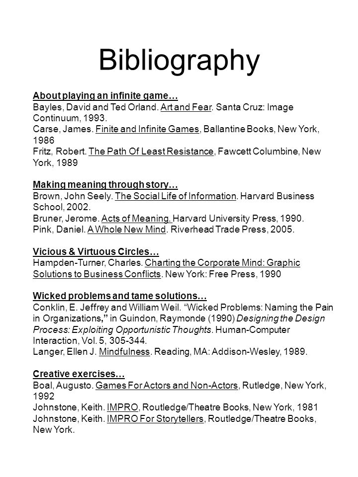 Bibliography About playing an infinite game… Bayles, David and Ted Orland.