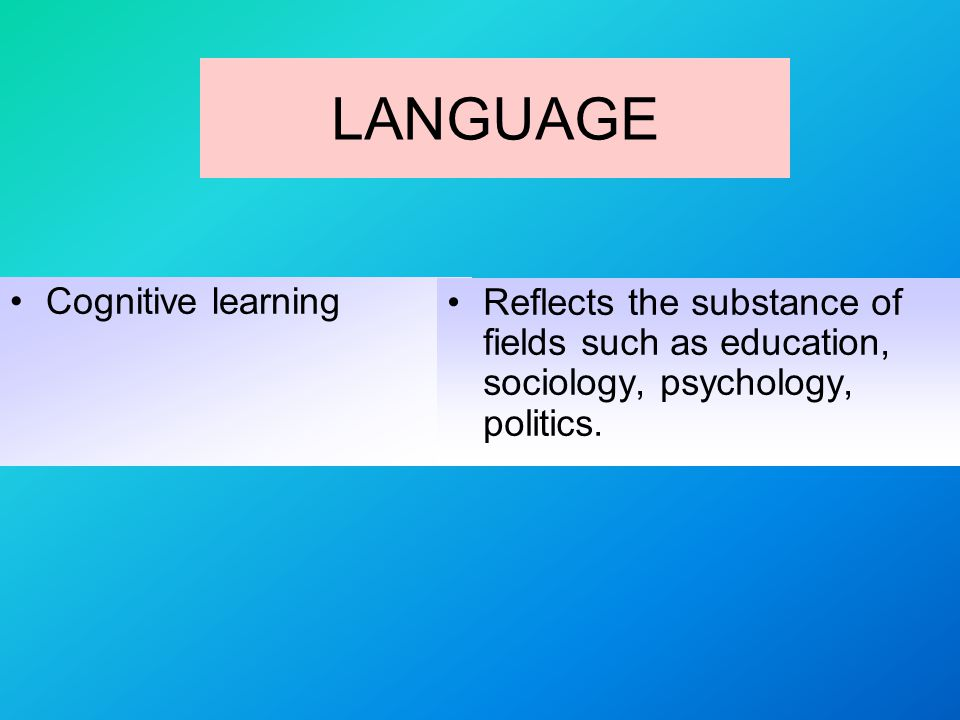 LANGUAGE Cognitive learning Reflects the substance of fields such as education, sociology, psychology, politics.