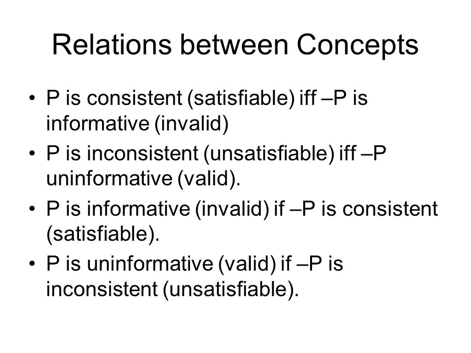 Relations between Concepts P is consistent (satisfiable) iff –P is informative (invalid) P is inconsistent (unsatisfiable) iff –P uninformative (valid).