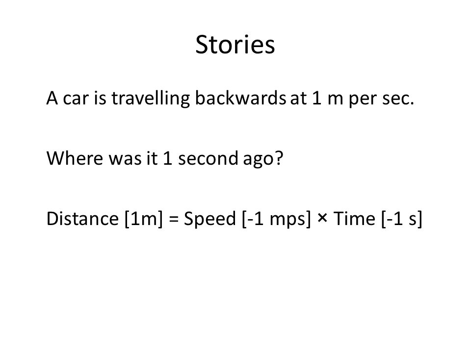 Stories A car is travelling backwards at 1 m per sec.
