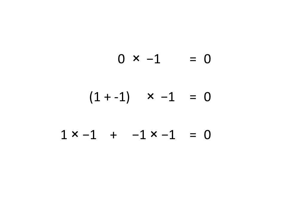 0 × −1 =0 (1 + -1) ×−1 = 0 1 × −1 + −1 × −1 = 0