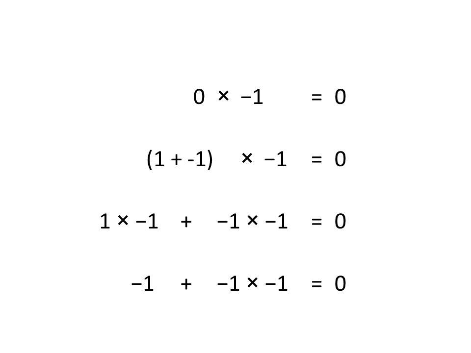 0 × −1 =0 (1 + -1) ×−1 = 0 1 × −1 + −1 × −1 = 0 −1 + −1 × −1 = 0
