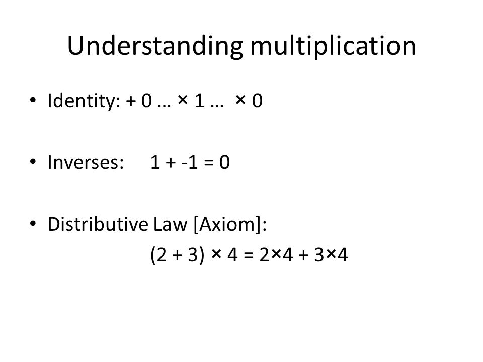 Understanding multiplication Identity: + 0 … × 1 … × 0 Inverses: 1 + -1 = 0 Distributive Law [Axiom]: (2 + 3) × 4 = 2×4 + 3×4