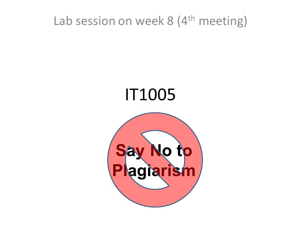 IT1005 Lab session on week 8 (4 th meeting) Say No to Plagiarism