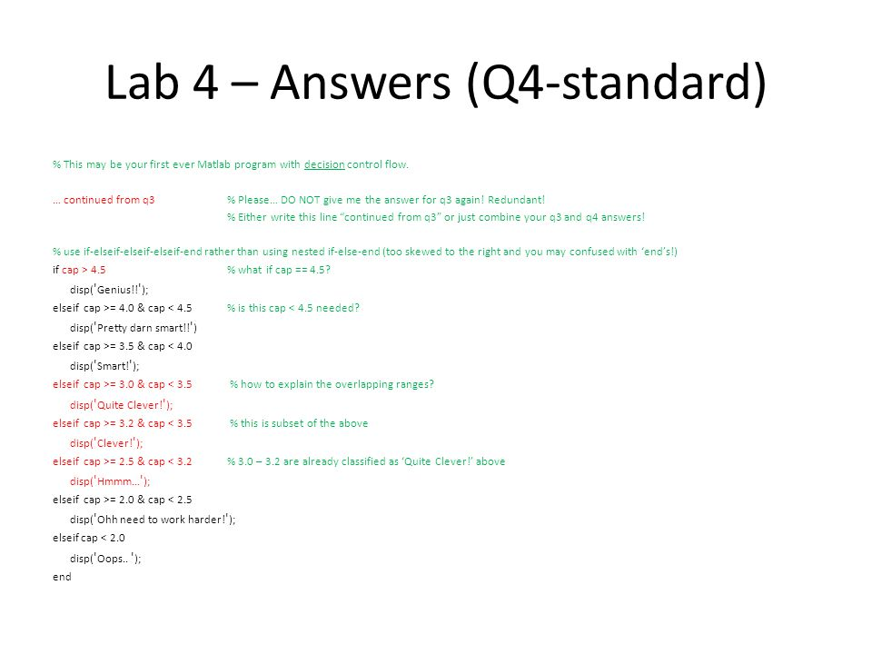 Lab 4 – Answers (Q4-better) … continued from q3 if cap >= 4.5 % what if cap == 4.5.